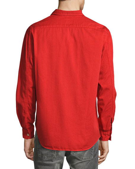 Over-Dyed Organic Cotton Sport Shirt, Red