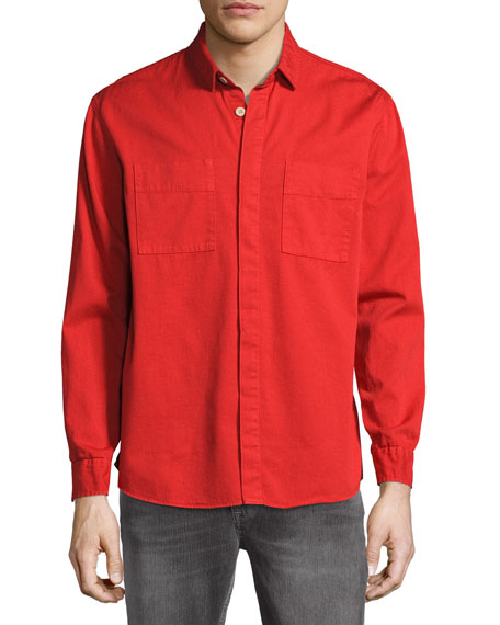 Nudie Over-Dyed Organic Cotton Sport Shirt, Red