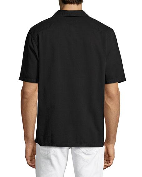Svante Over-Dyed Short-Sleeve Utility Shirt, Black