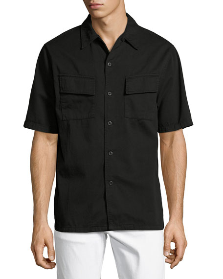 Nudie Svante Over-Dyed Short-Sleeve Utility Shirt, Black