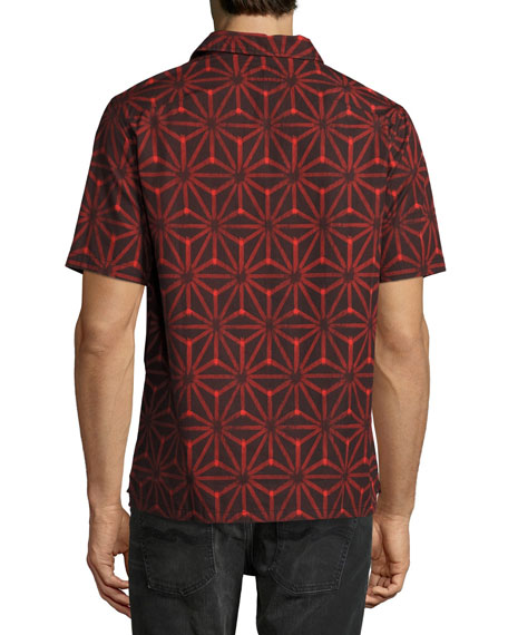 Brandon Ikat Short-Sleeve Sport Shirt, Black/Red