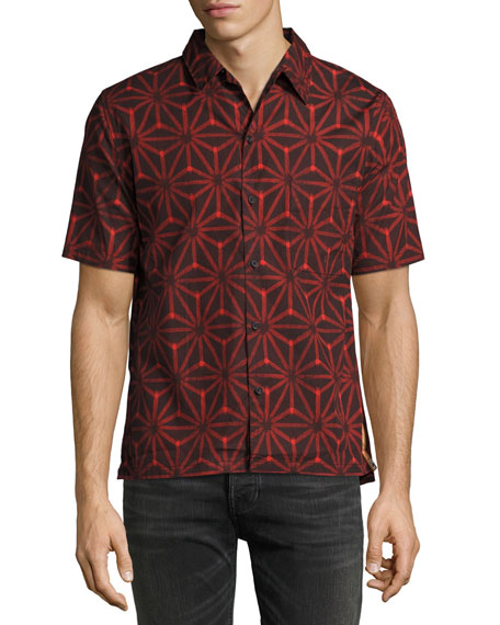 Nudie Brandon Ikat Short-Sleeve Sport Shirt, Black/Red