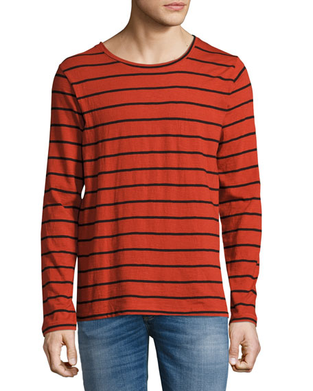 Nudie Orvar Striped Long-Sleeve T-Shirt, Blood Orange