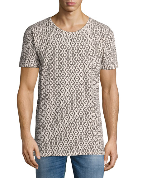 Geometric Puzzle Graphic T-Shirt, Black/Beige