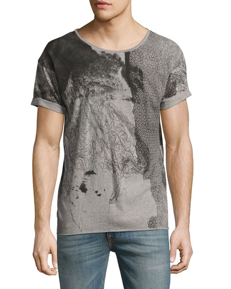 Nudie Map Mélange Loose-Fit T-Shirt, Gray