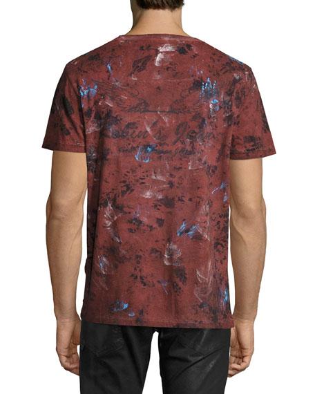 Painted Crewneck T-Shirt, Burgundy