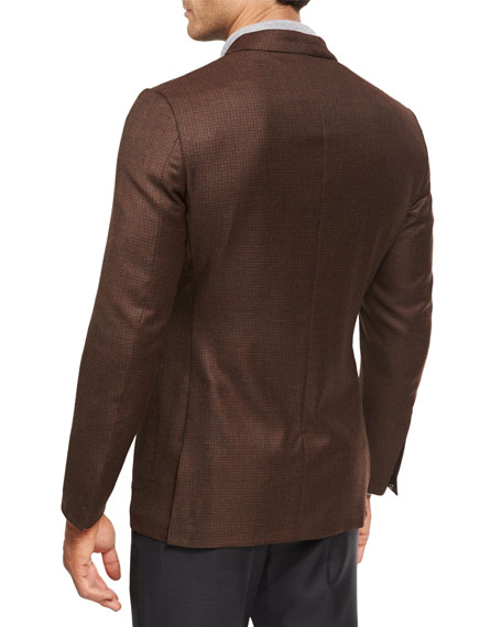 Check Wool Two-Button Sport Coat, Vicuna Brown
