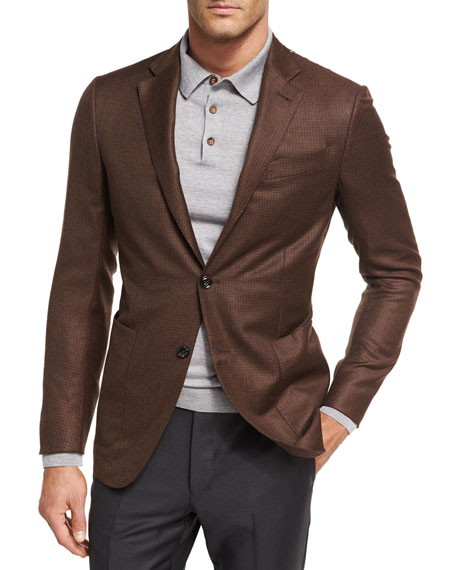 Ermenegildo Zegna Check Wool Two-Button Sport Coat, Vicuna