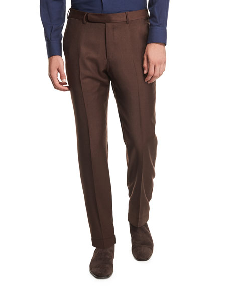 Ermenegildo Zegna High Performance Trofeo?? Wool Trousers, Rust
