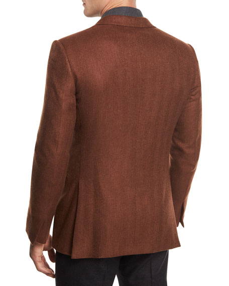 Herringbone Cashmere Two-Button Blazer