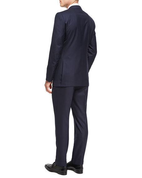 Striped Wool-Silk Two-Piece Suit, Navy/Burgundy