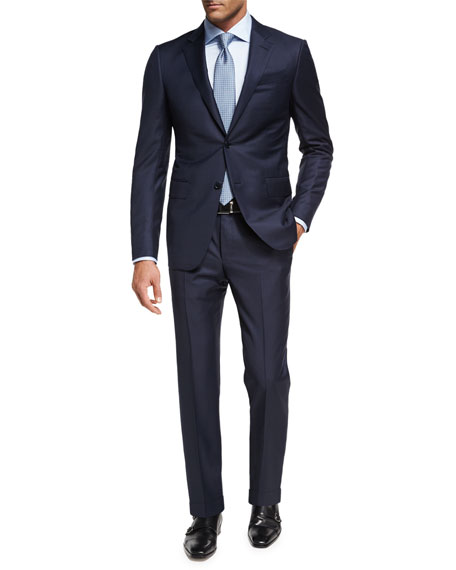 Ermenegildo Zegna Trofeo?? Wool Textured Two-Piece Suit, Navy