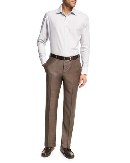Trofeo® Wool Flat-Front Trousers, Light Brown
