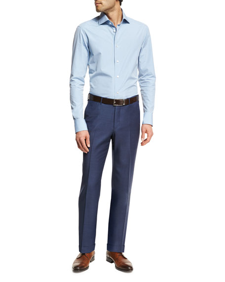 Trofeo® Wool Flat-Front Trousers, Blue