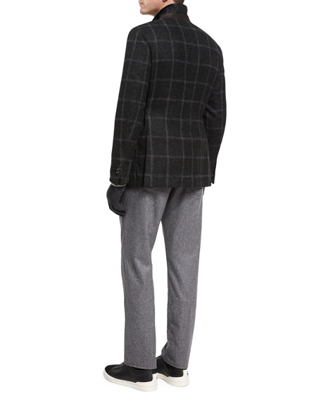 Windowpane Alpaca-Wool Sport Coat, Loden/Olive