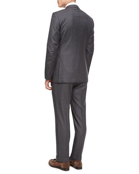 Striped Wool Two-Piece Suit, Gray/Brown