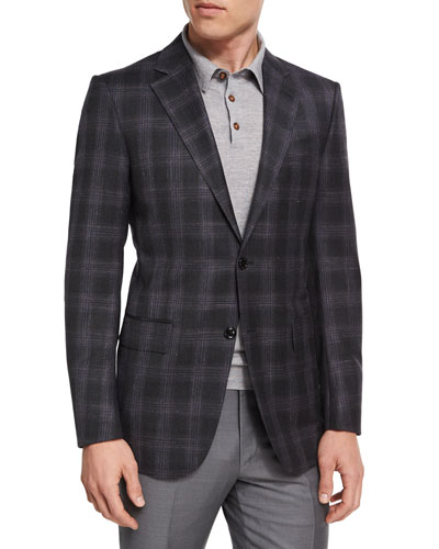 Plaid Wool-Blend Two-Button Sport Coat, Charcoal