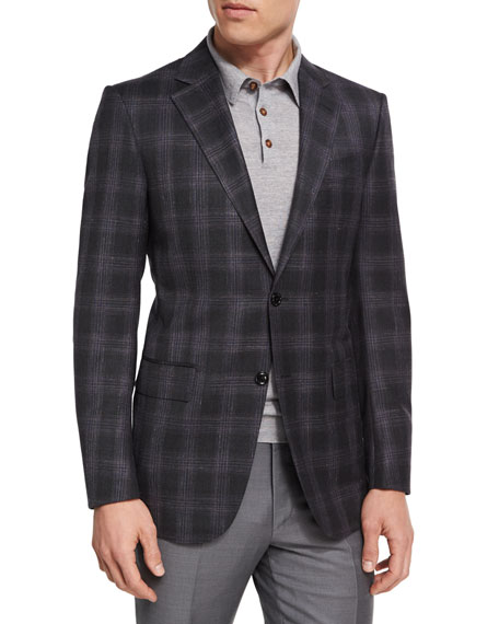 Ermenegildo Zegna Plaid Wool-Blend Two-Button Sport Coat,