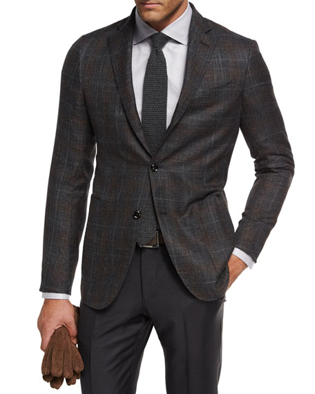 Plaid Cashmere-Silk Sport Coat, Gray