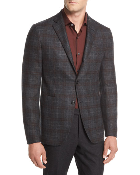 Wool Plaid Two-Button Blazer