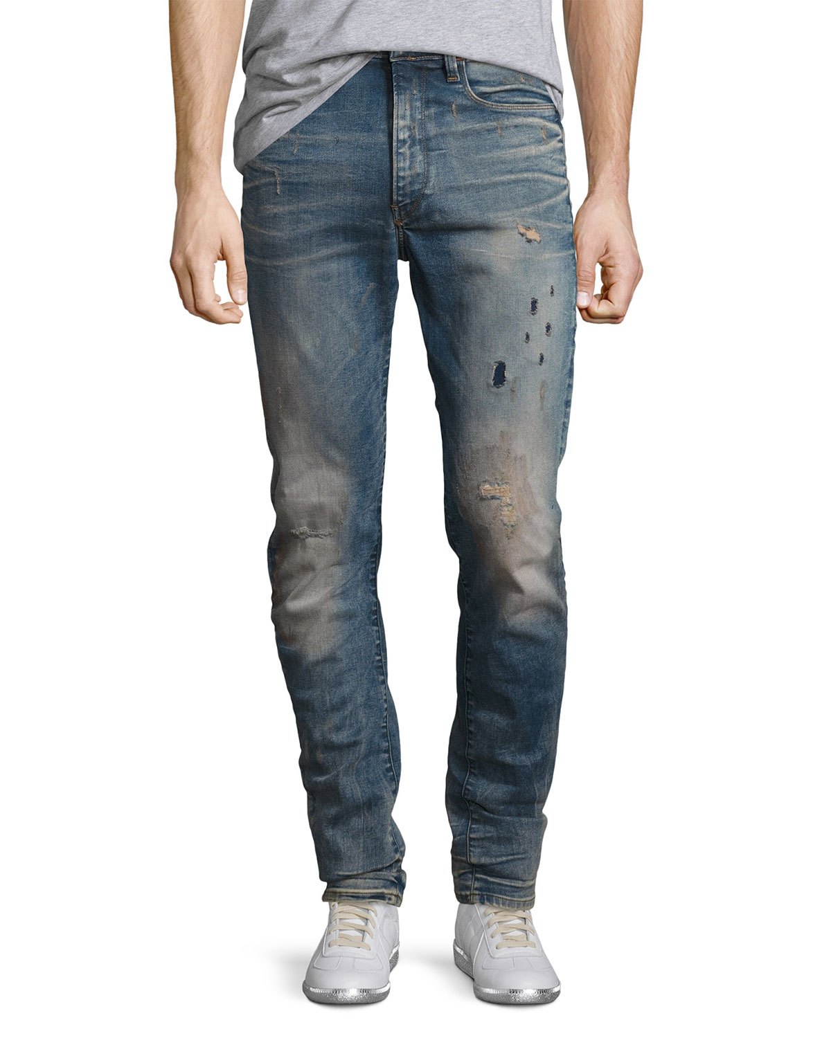 5a2bbc82107 G-Star Type C 3D Super Slim Distressed Jeans, Blue | Neiman Marcus