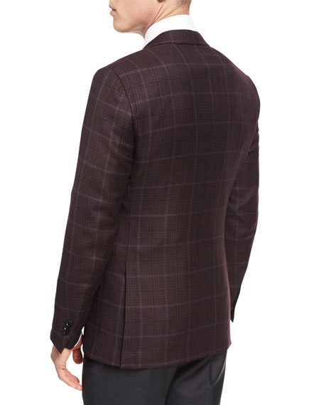 Windowpane Plaid Trofeo® Wool Two-Button Sport Coat, Burgundy/Red