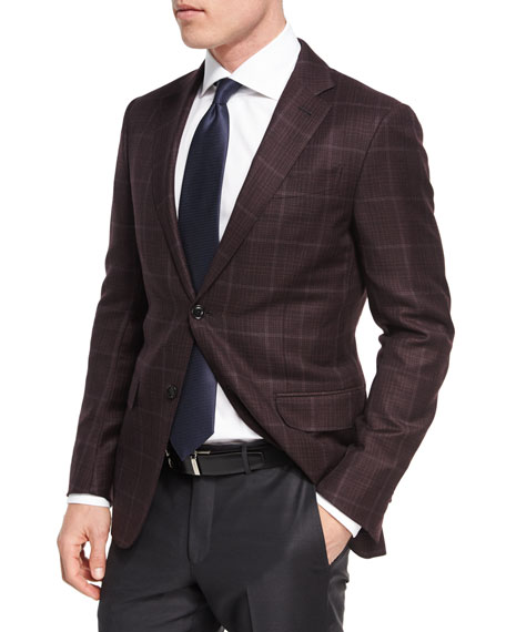 Ermenegildo Zegna Windowpane Plaid Trofeo?? Wool Two-Button Sport