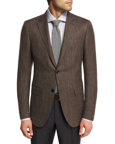 Ermenegildo Zegna Herringbone Wool-Blend 2-Button Sport Coat