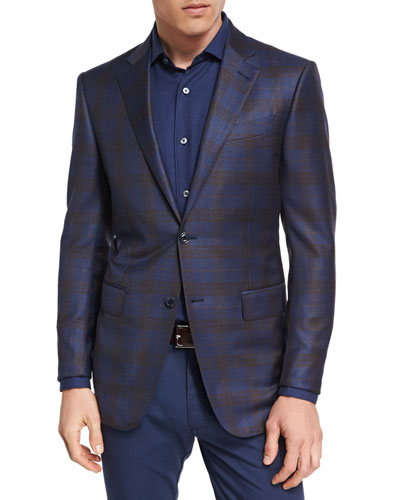 Plaid Wool Two-Button Sport Coat, Navy/Camel