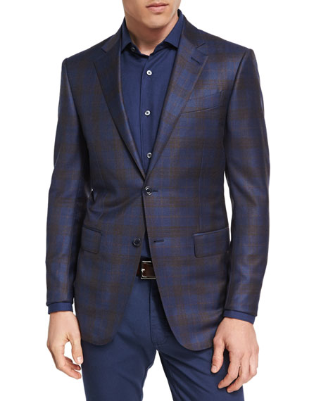 Ermenegildo Zegna Plaid Wool Two-Button Sport Coat, Navy/Camel