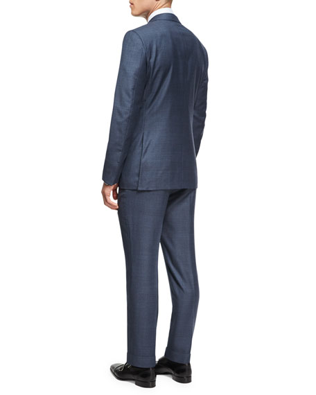 Tonal Plaid Trofeo® Wool Two-Piece Suit, Slate Blue