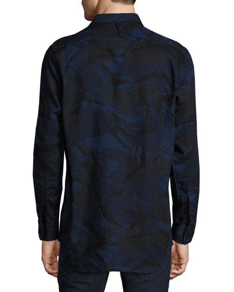 Type C Camouflage Denim Utility Shirt, Blue