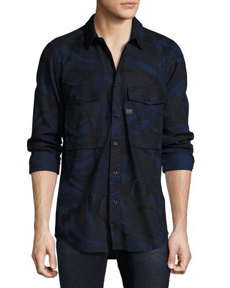 G-Star Type C Camouflage Denim Utility Shirt, Blue