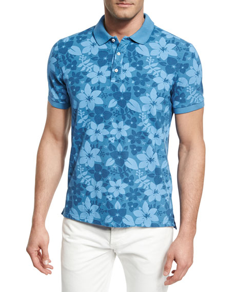 Isaia Tropical Flora Batik-Print Polo Shirt, Blue