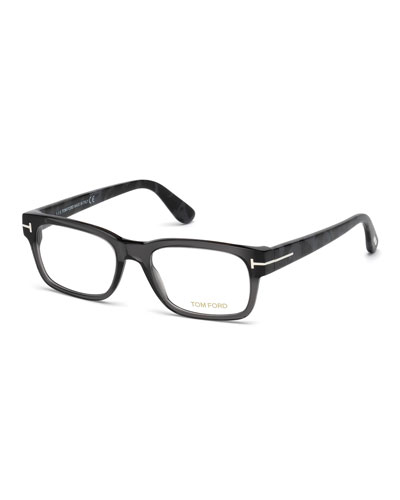 rectangular acetate eyeglasses gray