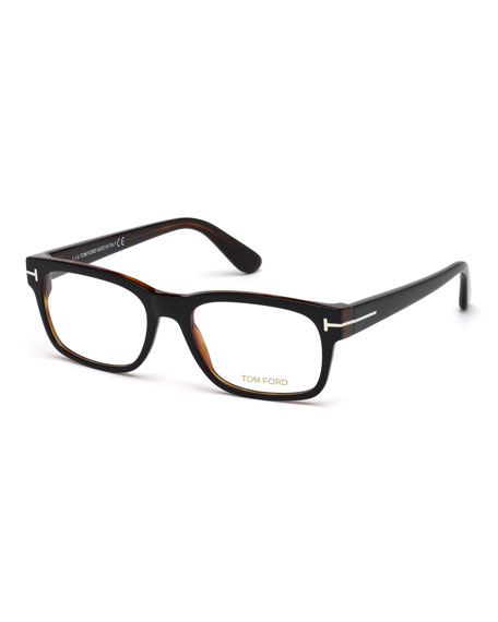 TOM FORD Rectangular Acetate Eyeglasses, Black/Havana