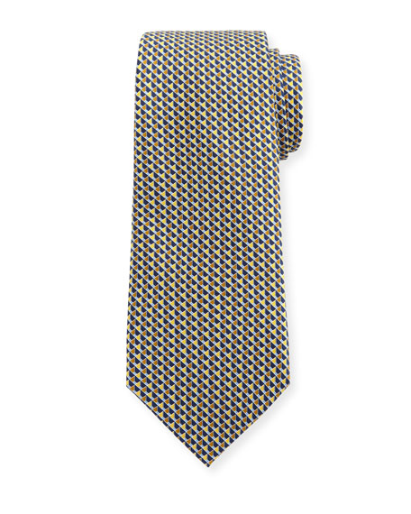 Cubicle-Print Silk Tie, Yellow