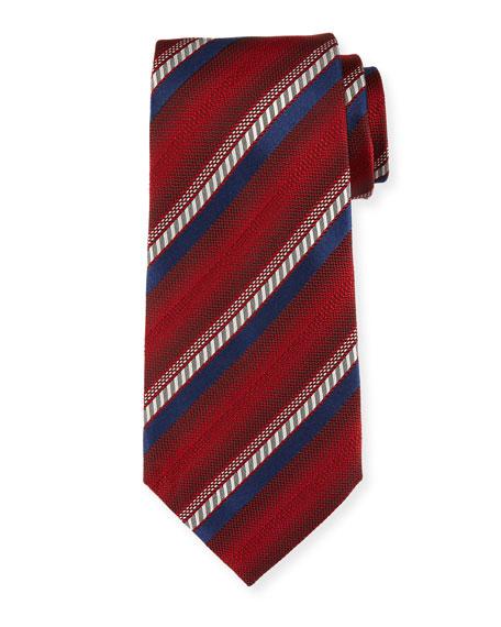 Ombre-Stripe Silk Tie, Red