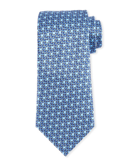 Printed Chevron Silk Tie, Blue