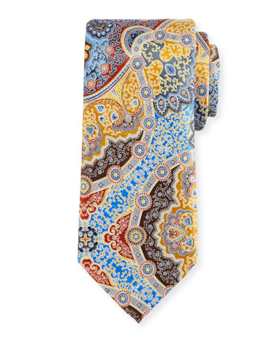Large Medallion Printed Silk Tie, Gold