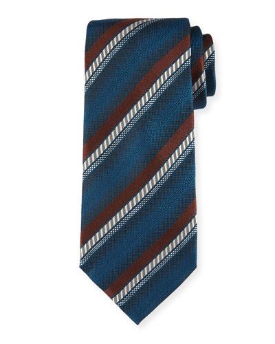 Ombre Striped Silk Tie  Brown