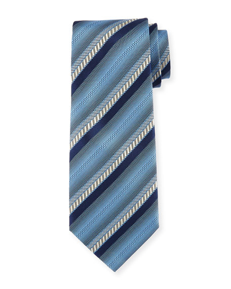 Ermenegildo Zegna Ombre Striped Silk Tie, Blue