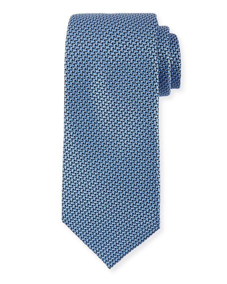 Ermenegildo Zegna Basketweave Silk Tie, Blue