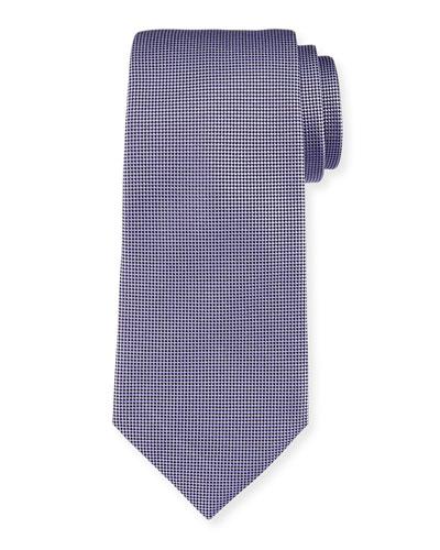 Micro-Diamond Textured Silk Tie, Purple