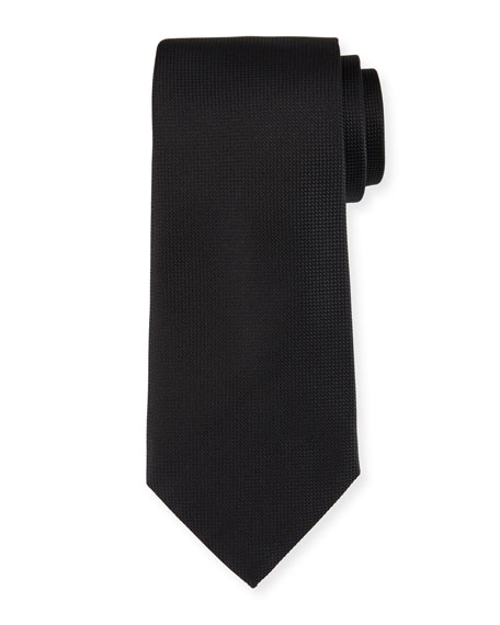 Ermenegildo Zegna Micro-Diamond Textured Silk Tie, Black