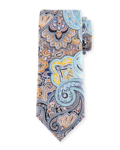 Quindici Paisley Tie, Gray