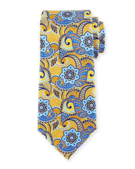 Printed Paisley Silk Tie, Yellow