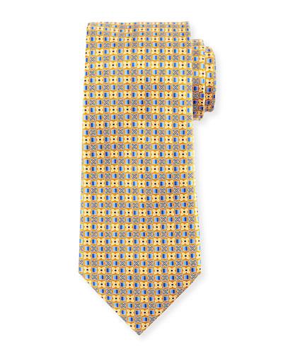 Four-Petal Floral Printed Silk Tie