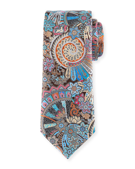 Peacock Printed Silk Tie, Brown