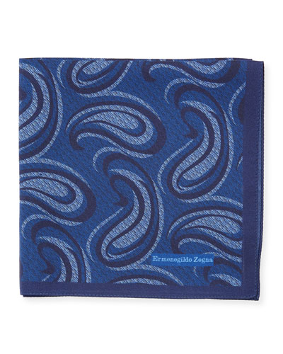 Swirl Paisley Silk Pocket Square, Blue